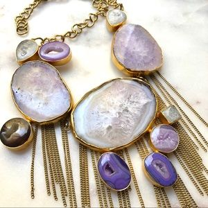 Jewelry - NEW Real Purple Geode Agate Druzy Statement Choker